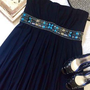NWT WHBM black strapless beaded waist dress